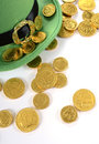 St Patricks Day Leprechaun Hat With Gold Chocolate Coins Royalty Free Stock Image - 49900406