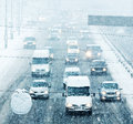 Snowy Winter Road With Cars Driving On Roadway In Snow Storm Stock Images - 49908114