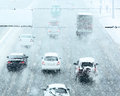 Snowy Winter Road With Cars Driving On Roadway In Snow Storm Stock Image - 49908131