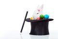 Cute White Rabbit With Colorful Easter Eggs In Magician Hat Royalty Free Stock Photography - 49924477
