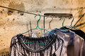 Close Up Of Old Clothes Hangers In The Sunlight Stock Image - 49940141