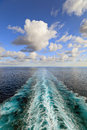 Ocean View With Wake Trace Of Cruise Ship Stock Photos - 49946413