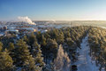 View Over Tampere City And Snowy Trees In Pyynikki Royalty Free Stock Photo - 49949145