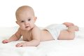 Cute Baby Lying On White Towel In Nappy Or Diaper Royalty Free Stock Images - 49949269
