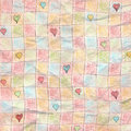 Simple Checkered Heart Worn Folded Grunge Paper Background Royalty Free Stock Photography - 49971277