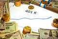 Chart Of 401k Going Up With Money And Gold Royalty Free Stock Photo - 49976825