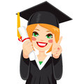 Red Haired Graduation Girl Stock Images - 49987984