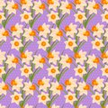 Easter Seamless Pattern With Daffodils Stock Photos - 49999183