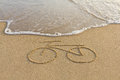 A Bicycle Drawing On The Sand Stock Photography - 50002242