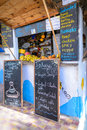 A Snack And Juice Bar In Taghazout Surf And Fishing Village,agadir,morocco Royalty Free Stock Images - 50009989