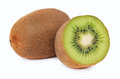 One Whole And A Half Ripe Kiwi (isolated) Stock Images - 50011824