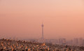 Milad Tower In The Skyline Of Tehran At Pink Sunset Royalty Free Stock Images - 50015189
