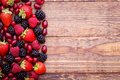 Berries, Summer Fruit On Wooden Table. Healthy Lifestyle Concept. Royalty Free Stock Photography - 50016087