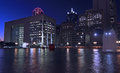 Dallas Skyline: Nightly Light Reflections In Water Royalty Free Stock Images - 50018629