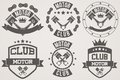 Set Of Vintage Motor Club Signs And Label Stock Photo - 50034830