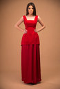 Cute Trendy Woman In Red Dress Stock Photos - 50038903