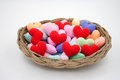 Yarn Hearts In The Basket. Royalty Free Stock Photo - 50040335