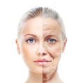 Old And Young Woman, Isolated On White, Before And After Retouch, Royalty Free Stock Photo - 50050145