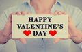 Woman Hands Holding Sign Happy Valentine S Day Royalty Free Stock Photography - 50051017