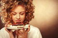 Beautiful Smiling Young Woman With A Cake Stock Images - 50068014