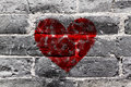 Painted Red Heart Shape On Black Brick Wall Royalty Free Stock Photography - 50069767