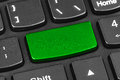 Computer Notebook Keyboard With Blank Green Key Stock Image - 50073101