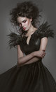 Woman In Gothic Fashion Dress Royalty Free Stock Photo - 50076755