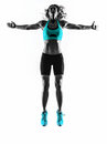 Woman Fitness Jumping  Stretching Exercises Silhouette Royalty Free Stock Photos - 50078088