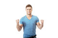 Young Man With His Arms Up In Victory Gesture. Stock Photo - 50078110
