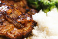 Pork Steak With Salad And Rice Royalty Free Stock Image - 5012656