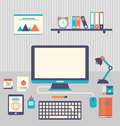 Flat Icons Of Trendy Everyday Objects, Office Supplies And Busin Stock Photos - 50103963