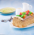 Roulade Cake, Decorated With Colourful Buttercream Flowers Royalty Free Stock Images - 50110549