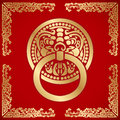 Chinese Lion Head Knocker Around With Dragon Pattern Stock Images - 50120744