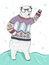 Cute Hipster Polar Bear With Glasses Royalty Free Stock Image - 50131086