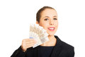 Business Woman Showing Euro Currency Money. Royalty Free Stock Photography - 50132637