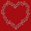Vector Floral Frame In The Shape Of Hearts On A Red Background Stock Photos - 50142373