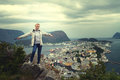 Girl Standing On A Mountain Stock Photography - 50146692