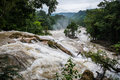 Agual Azul, Flooded River, Caution Water Motion At Chiapas, Trav Royalty Free Stock Photos - 50155958
