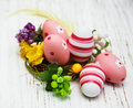 Easter Eggs In A Nest Stock Image - 50181511