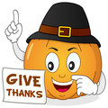 Happy Thanksgiving Pumpkin With Hat Stock Photo - 50182240