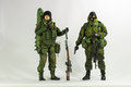 Toy Man Soldier Action Figure Miniature Realistic Silk White Background Royalty Free Stock Image - 50184516