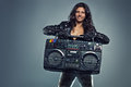 Young Woman With Boom Box Royalty Free Stock Photography - 50194327