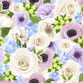 Vector Seamless Pattern With White Roses, Purple Lisianthuses And Anemones And Blue Hydrangea. Stock Photos - 50194983