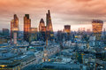 City Of London, Business And Banking Aria. London S Panorama In Sun Set. Stock Images - 50196814