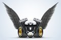 Symbol Of Motorcycle Engine With Black Open Wings Stock Photo - 50215740