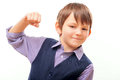 Cute Child In Suit Showing The Fist Stock Images - 50228544