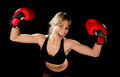 Young Happy Beautiful Boxer Girl With Boxing Gloves Arms In Victory Sign With Fit And Healthy Body Royalty Free Stock Images - 50232779