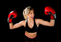 Young Happy Beautiful Boxer Girl With Boxing Gloves Arms In Victory Sign With Fit And Healthy Body Stock Images - 50232794