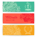 Vector Stylish Floral Banners. Bright Doodle Cartoon Cards In Ve Stock Photo - 50245710