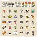 30 Colorful Doodle Icons Set 3 Stock Photos - 50255693